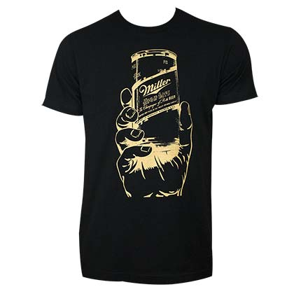 Miller High Life Can in a Hand Black TShirt