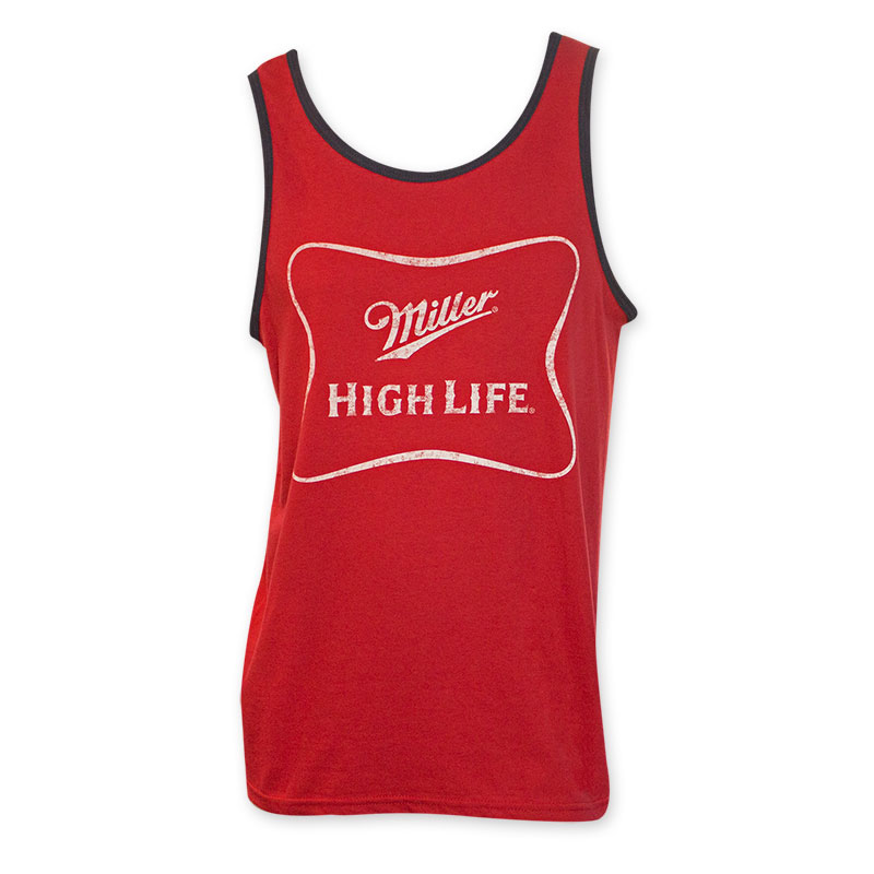 Miller High Life White Logo Men's Red Tank Top