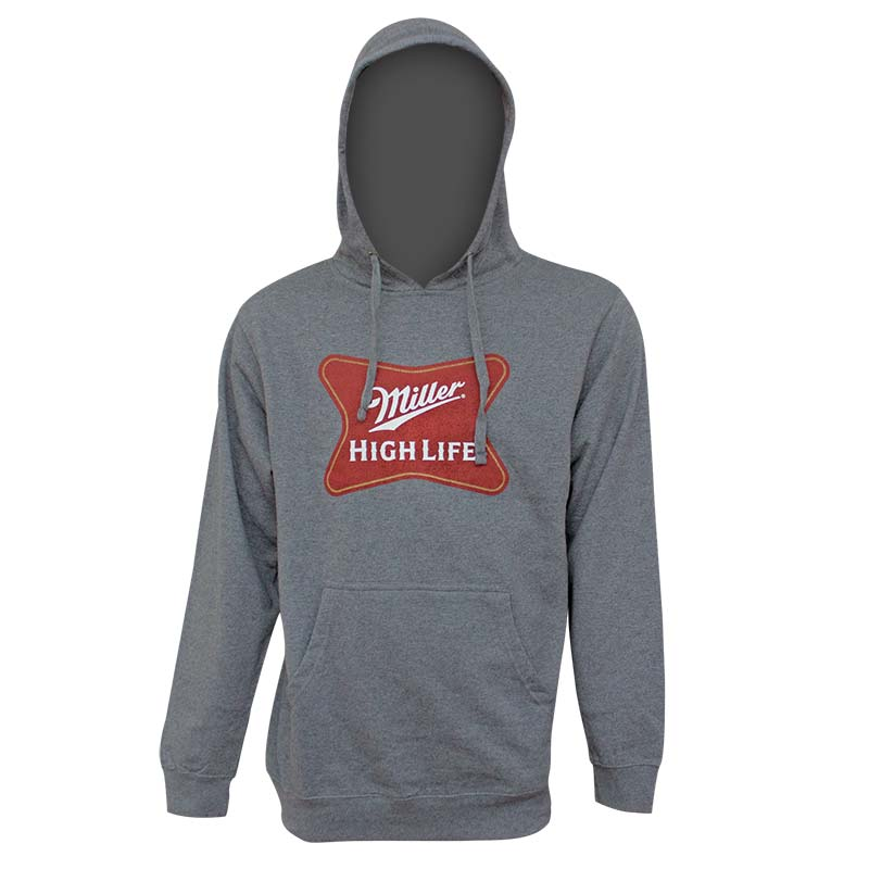 Miller High Life Men's Grey Beer Logo Hoodie