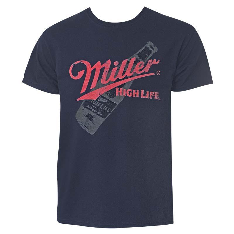 4b9bdecc7e154 Miller High Life Bottle Logo Men s Dark Blue Tee Shirt