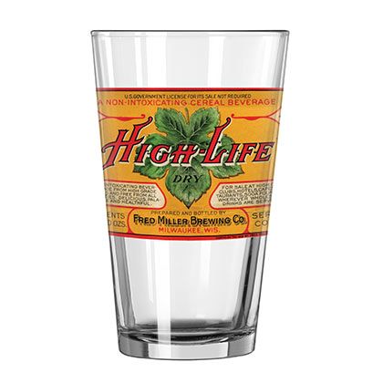 Miller High Life Retro Orange Label Pint Glass