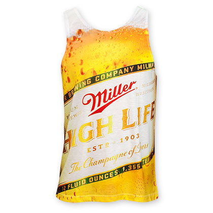Miller High Life Beer Bottle Logo Sublimated Tank Top