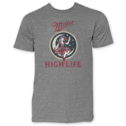 Miller High Life Men's Grey Girl In The Moon T-Shirt