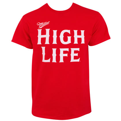 Miller High Life Bold Text Logo Men's Red Tee Shirt