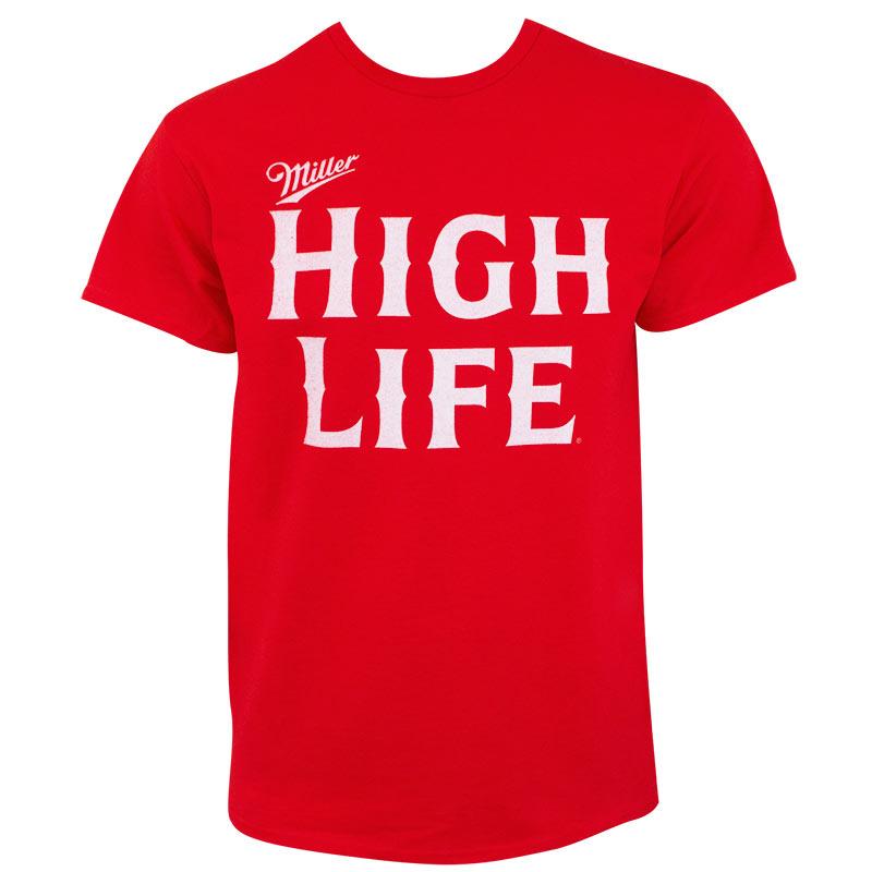 Miller High Life Bold Text Logo Men's Red Tee Shirt