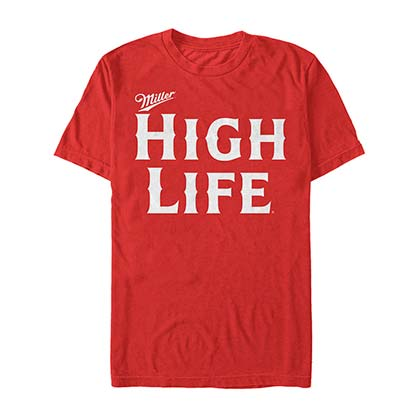 Miller High Life Text Logo Men's Red Tee Shirt