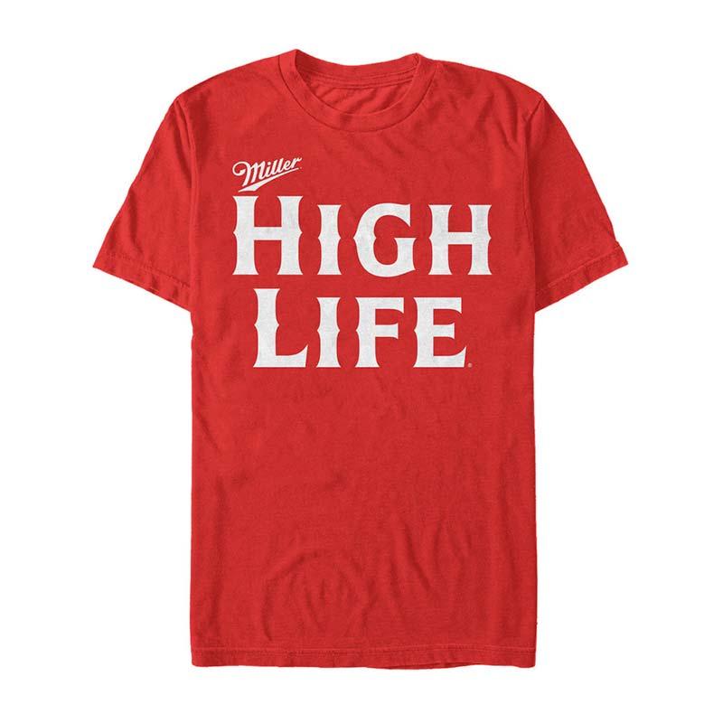Miller High Life Text Logo Men's Red Tee Shirt