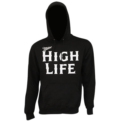 Miller High Life White Font Black Hoodie