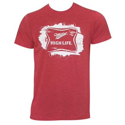 Miller High Life Men's Red Sketched Logo T-Shirt
