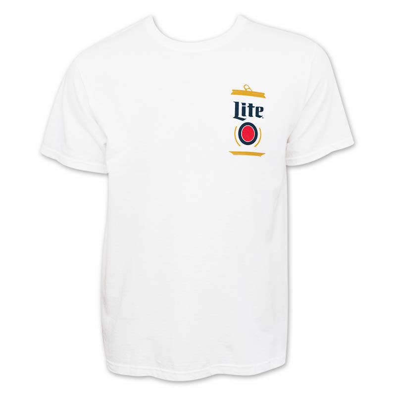 Miller lite beer can logo tee shirt for Can you bleach white shirts with logos