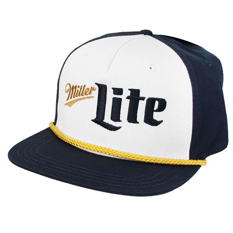 60e13ba1933df Miller Lite Blue and Gold Vintage Logo Hat