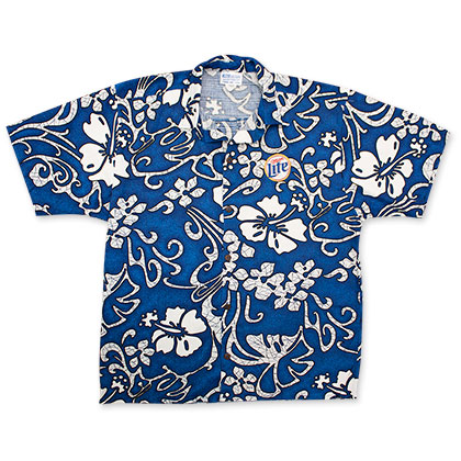 Miller Lite Men's Blue Hawaiian Shirt