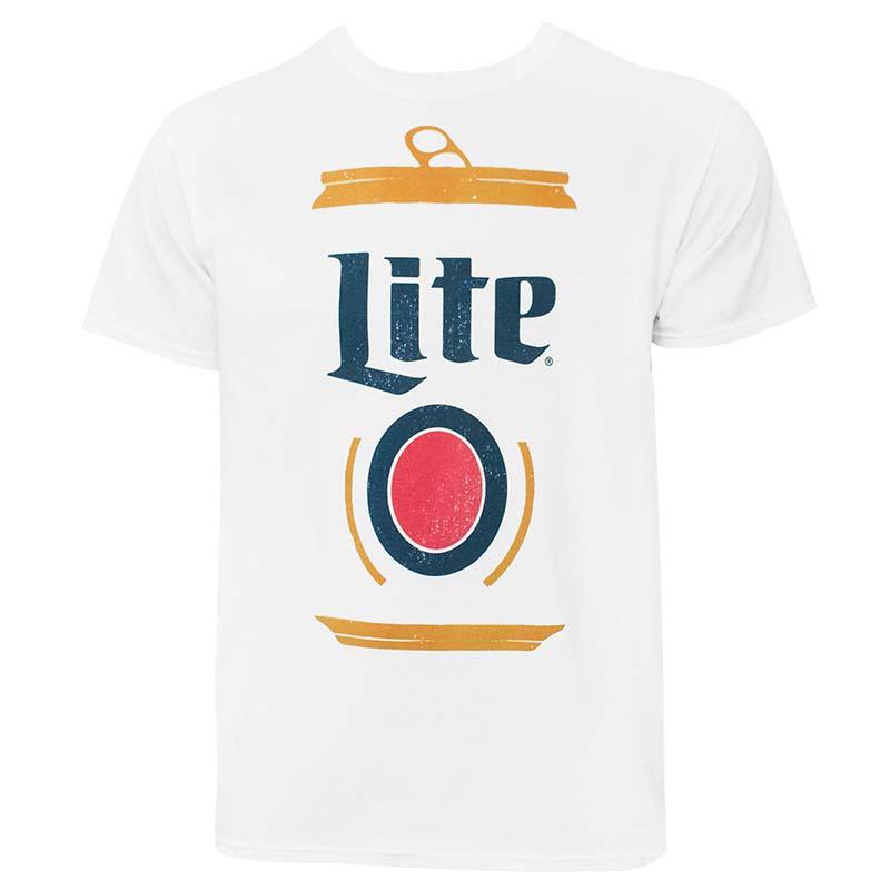 Miller Lite Graphic Design Can Men's White Tee Shirt