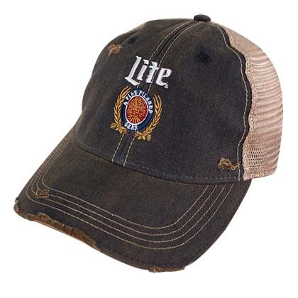 Miller Lite Logo Retro Brand Mesh Brown Trucker Hat