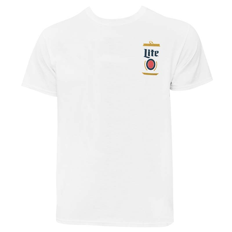 Miller Lite Can Chest Men's White Tee Shirt