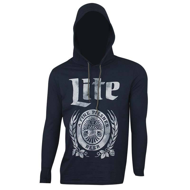 Miller Lite Long Sleeve Hooded Navy T-Shirt
