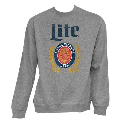 Miller Lite Men's Grey Crewneck Sweatshirt