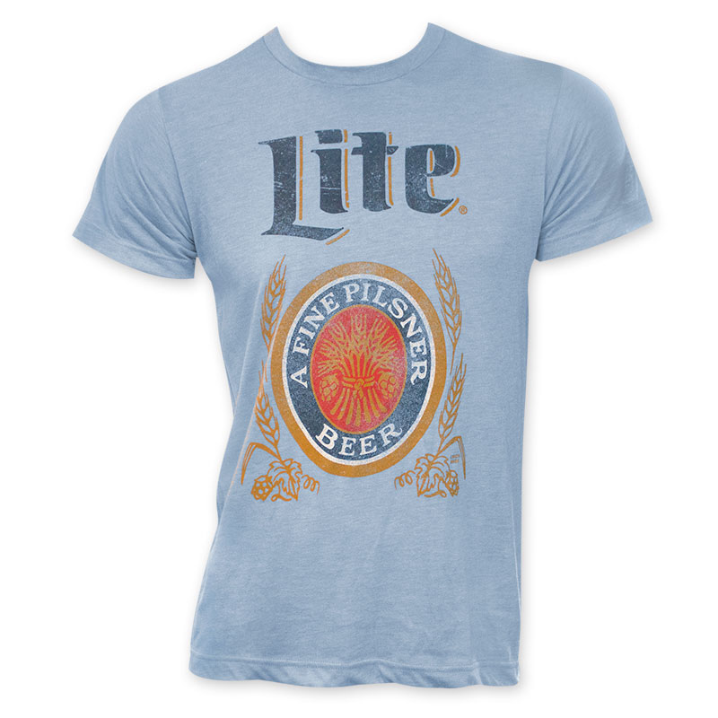 Miller lite classic logo men 39 s light blue t shirt Light blue t shirt mens