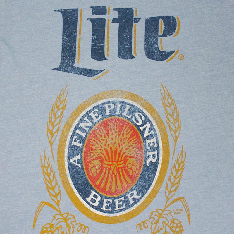 Miller Lite Light Blue Men's Classic Logo Tee Shirt