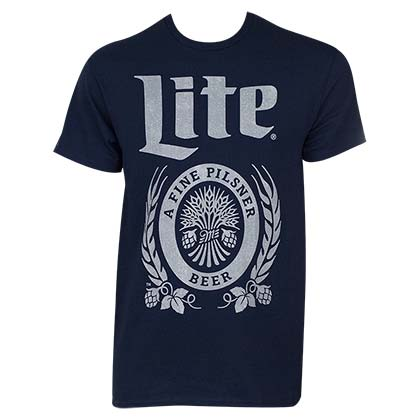 Miller Lite Men's Navy Blue Large Logo T-Shirt