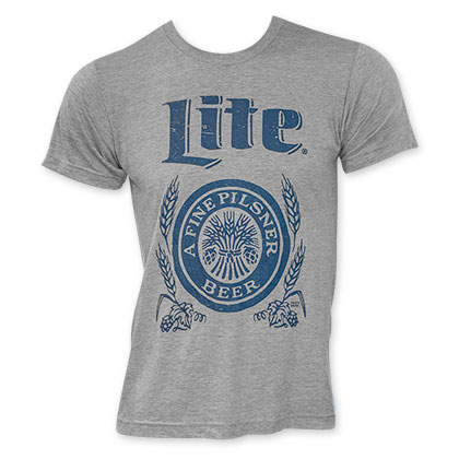 Miller Lite Blue Logo Men's Grey Tee Shirt