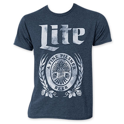 Miller Lite Men's Navy Blue Faded Logo Tee Shirt
