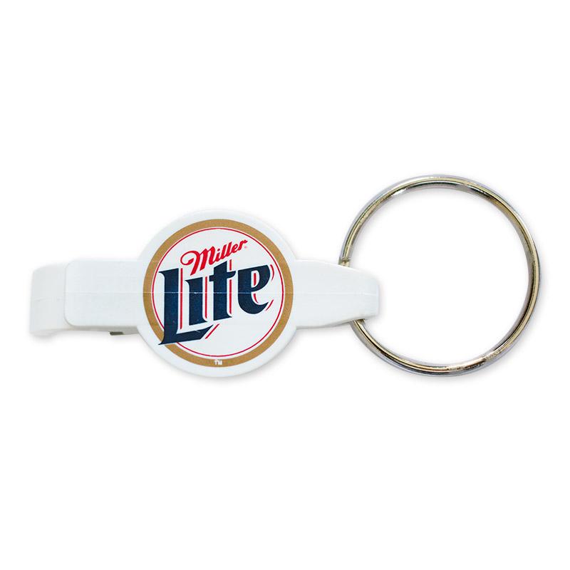 miller lite logo plastic white keychain bottle opener. Black Bedroom Furniture Sets. Home Design Ideas