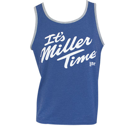 Miller Lite It's Miller Time Men's Heather Blue Tank Top