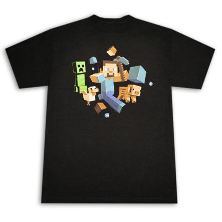 Minecraft Run Away T Shirt - Black