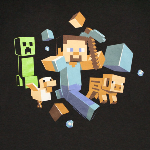 Minecraft Run Away T Shirt - Black