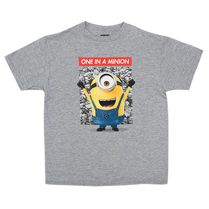 Despicable Me Boy's Grey One In A Minion T-Shirt