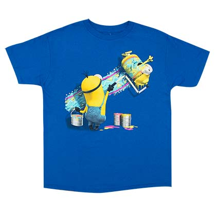 Despicable Me Boy's Blue Minions Paint Roller T-Shirt