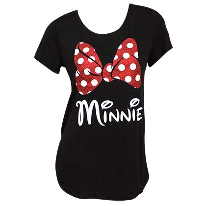 Minnie Mouse Glitter Bow Women's Black Tee Shirt