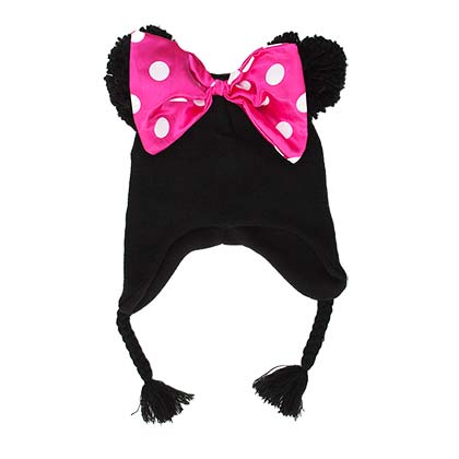 Minnie Mouse Black Peruvian Winter Hat