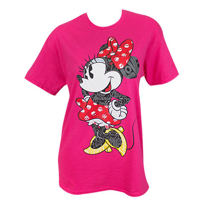 Minnie Mouse Women's Pink Words T-Shirt
