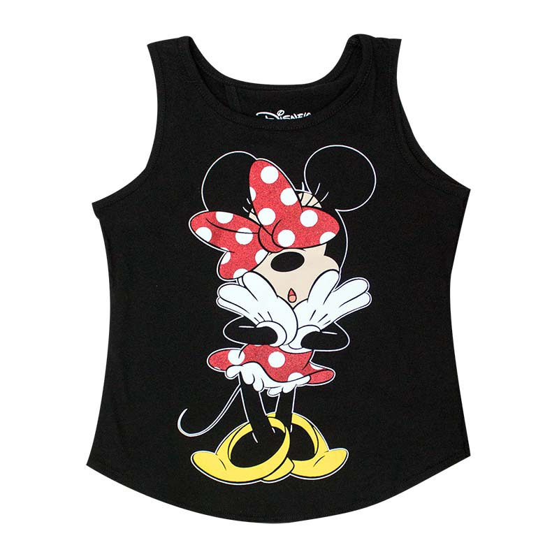 Minnie Mouse Open Back Youth Girls 7-16 Black Tank Top