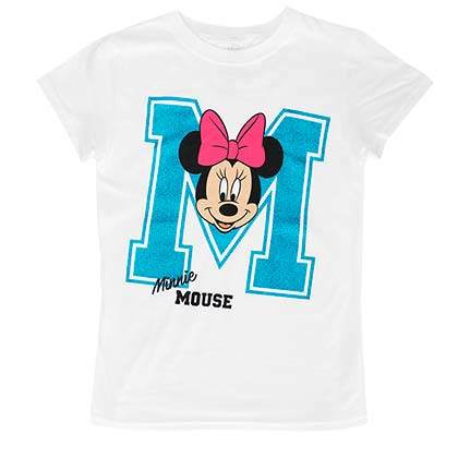 Minnie Mouse Glitter M Youth Girls 7-16 White Tee Shirt