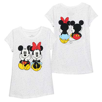 Mickey And Minnie Mouse Confetti White Big Girls White Tee Shirt