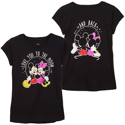 Mickey And Minnie To The Moon And Back Youth Girls Black Tee Shirt