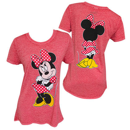 Minnie Mouse Front Back Long Women's Red T-Shirt