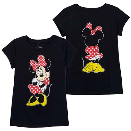 Minnie Mouse Front Back Print Girls Youth Black Tee Shirt