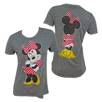 Minnie Mouse Front Back Print Women's Grey Tee Shirt