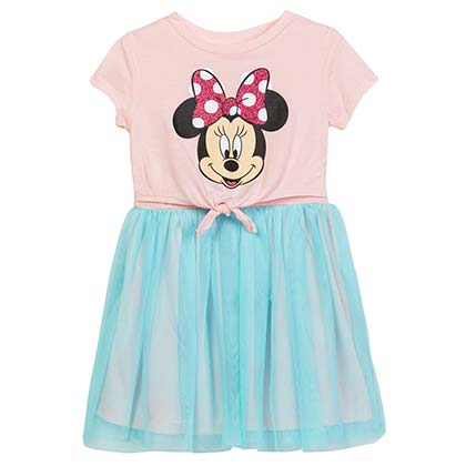 Disney Minnie Mouse Front Tie Girls Youth Pink Blue Dress