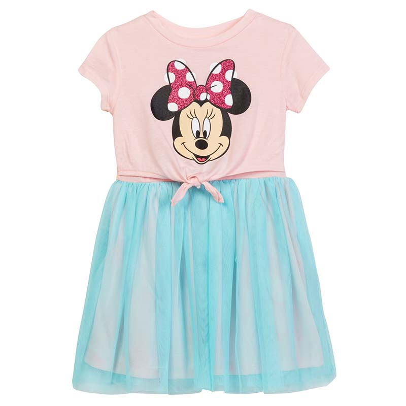 Minnie Mouse Front Tie Girls Youth Pink Dress