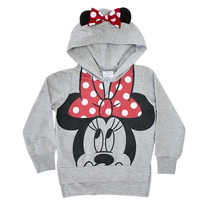 Minnie Mouse Girl's Grey Ears Costume Hoodie