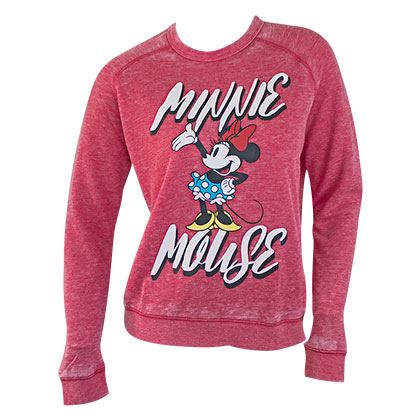 Minnie Mouse Red Ladies Crewneck Sweatshirt