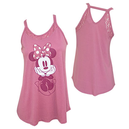 Minnie Mouse Lace Back Women's Pink Tank Top