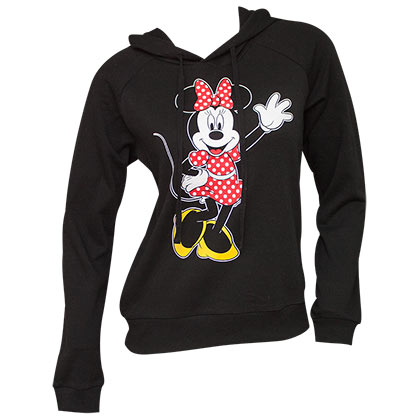 Minnie Mouse Black Front And Back Ladies Hoodie
