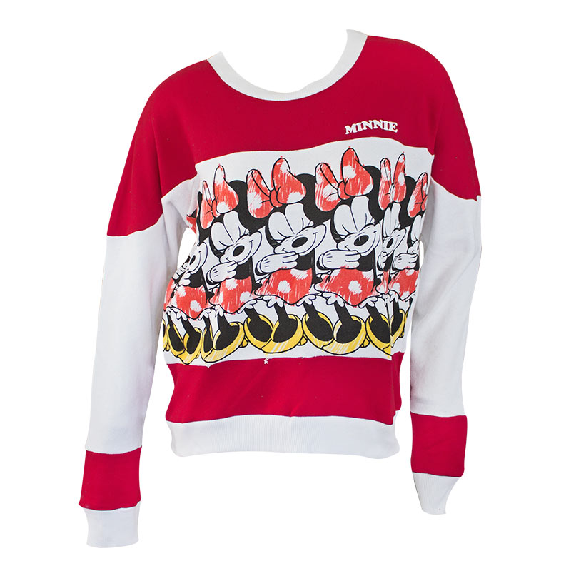 Minnie Mouse Red & White Ladies Striped Crewneck Sweatshirt
