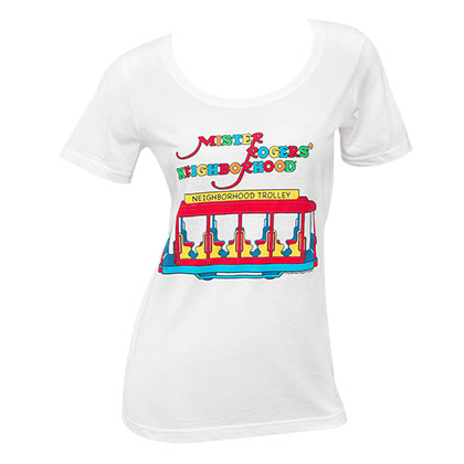 Mister Rodgers Women's White Neighborhood Trolley T-Shirt